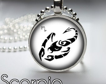 Scorpio Zodiac Necklace, Monochromatic