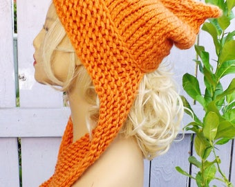 Orange Hooded Scarf, Hooded Knitted Scarf, Chunky Womens Snood, Knit Hood, Super Chunky Scarf, Orange Scarf, Sleigh Chunky Super Scarf