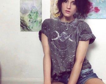 triple moon soft tie dye t-shirt // grey L