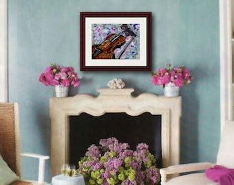 VIOLIN art | musical art | Fine art print | mixed media art | collage art | brown purple violet | Music Lover Gift | butterfly art