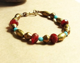 African Oval Tube + Bicone Brass Bead Bracelet // Red + Blue Czech Glass Beads // Rustic Exotic Flair