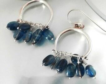 Kyanite Earrings,Kyanite Silver Earrings,Blue Gemstone Earrings,Sterling Kyanite, Boho Chic Earrings, Kyanite Dangles,Gypsy Earrings,