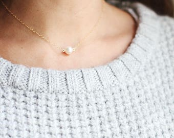 Single Pearl Choker Necklace | 14k Gold Fill | Sterling Silver