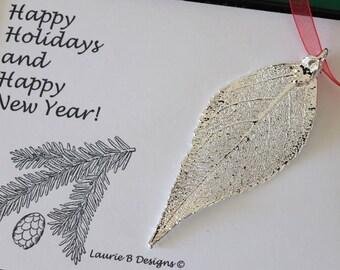 Leaf Ornament Silver, Real Leaf Evergreen, Leaf Extra Large, Ornament Gift, Christmas Card, Silver Leaf, Tree Ornament, Wedding, ORNA94
