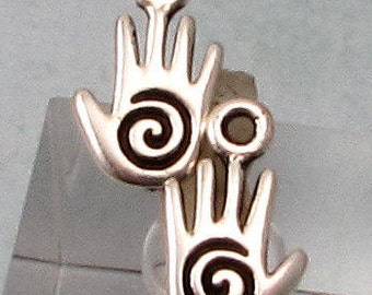 Small Spiral Hand Charm, Antique Silver, TierraCast 2-Pc. TS123