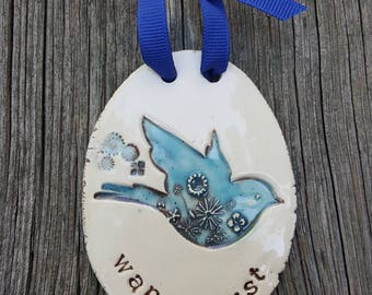 Wanderlust, ceramic art, bluebird pottery, clay wall tag, inspirational gift, encouragement gift, support gift,  coworker gift, plaque
