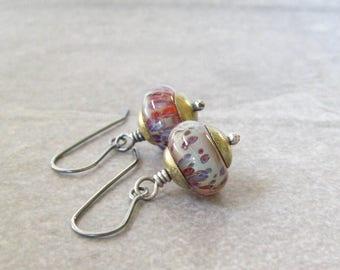 lampwork drop earrings, multi color dangle earrings, silver earrings, oxidized jewelry, boho dangle earrings, mixed metal jewelry