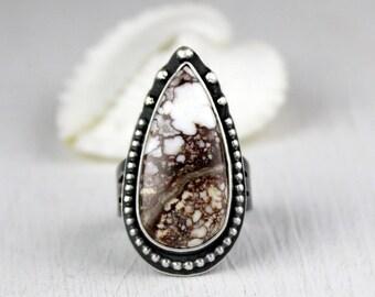 Wild Horse Ring, Boho Ring, White Turquoise Statement Ring, Southwestern Ring, Big Ring, Size 9, Ready to ship
