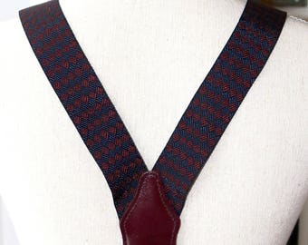 Gorgeous Mens Button On Suspenders - Cordovan Leather - Burgundy Navy Blue Diamond Weave - Y BACK - Woven Braces - Adjustable Gold Clinchers
