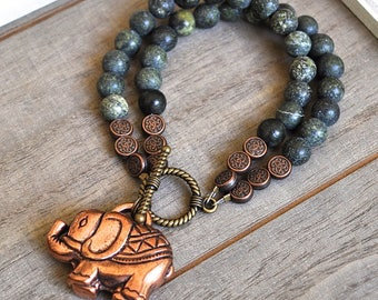 Sacred Elephant Bracelet Green Jade Gemstone Beads Rose Gold Colored Elephant Charm Tribal Bohemian Boho Two Strand Beaded Bracelet
