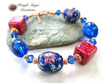 Pink and Blue Bracelet, Colorful Spring Flowers, Asian Florals, Cobalt, Sapphire Swarovski Crystal, Copper Toggle Clasp, Gift for Women B542
