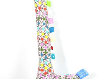 Handmade Taggy Giraffe Tactile Baby Toy - pastel geometric & aqua/white dot