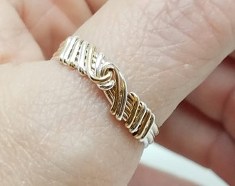 Knot an Ordinary Kind of Love Shibari Themed Sterling Silver & 14 kt Gold Filled Reef Knot Promise Ring Size 10