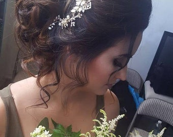 Gold Bridal Hair Vine with Rhinestones and Pearls, OOAK Custom Mini Floral Wedding Hairpiece, Boho Style, Ready to Ship