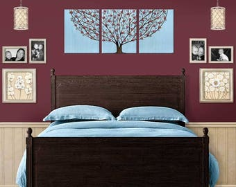 3 Piece Canvas Art Large Painting Triptych Blue and Wine Red Tree with Sculpted Flowers - 50x20