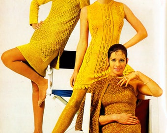 Three Vintage Metallic Dresses Knitting~Crochet Patterns 1970's Bust Size 39.5- 47.5 Inches Instant PDF Instant Download