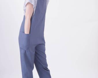 Linen Cross back overalls (Indigo-Navy-Grey-Ecru)