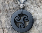 Handcarved Ebony Celtic Triskele Necklace, Celtic Triple Spiral Pendant, Hand Made In Ireland, Gift For Men, Celtic Pagan Triskelion Jewelry