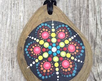 Hand painted Mandala pendant