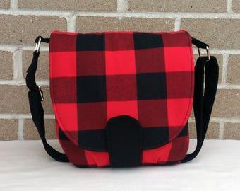 Buffalo Plaid / Buffalo Plaid Bag / Small Messenger Bag / Saddle Bag / Satchel / Cross Body Purse / Every Day Bag / Gift For Her