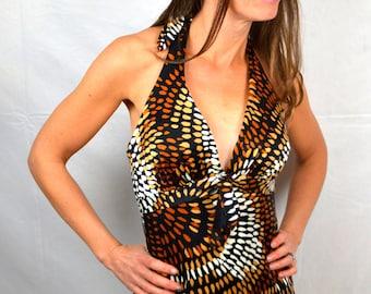 Vintage 1960s 60s Deweese Bombshell Beach Maxi Sun Dress