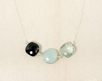 Silver Aqua Chalcedony, Aqua Quartz, and Black Onyx Necklace - Triple Gemstone Necklace - 925 Silver