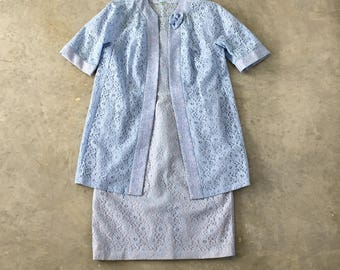 50s blue lace overlay dress and matching jacket - 1211495