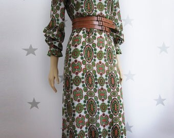 Emilia Bellini vintage dress, Printed long dress, Emilia Bellini, vintage print 60s dress