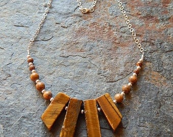 Tigers eye necklace - golden brown stone statement necklace - rustic gemstone fan - sterling silver  - tigereye jewelry