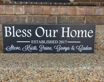 Bless Our Home with Love and Laughter ~ Wooden Home Sign ~ Wood Sign Saying ~ Rustic Wooden Signs Housewarming Gift ~ Love and Laughter Sign