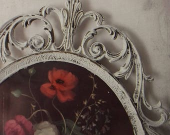 Oval BaROQUE Rococo Frame. French Farmhouse Shabby Chic White. Italian Framed Print w Convex Glass. 8x10 Framed art