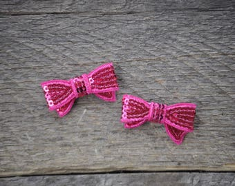 Sequin Bow Hair Clip Set - Bow Hair Clips - Pink Sequin Bow Hair Clip - GIrls Hair Clips Set - Baby Girl Hair Clips - Toddler Hair Clips