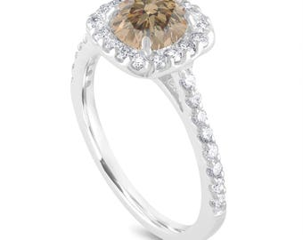 Halo Pave Engagement Ring, Champagne Diamond Bridal Ring, Brown Diamond Ring, 1.58 Carat 14K White Gold Unique Certified Handmade