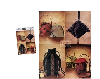 Drawstring Purse Pattern Shaped Bag Pattern Pouch Pattern DIY Small Purses Six Styles 90's Vogue Craft 7221 Sewing Pattern Linda Carr 1999