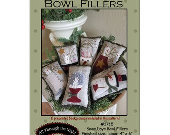 """Primitive Folk Art Wool Applique Pattern: """"SNOW DAYS Bowl Fillers"""" - Preprinted fabric background included with pattern!"""