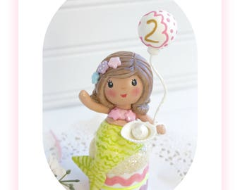 Mermaid Party, Decorations, Under the Sea , Mermaid Birthday Party Décor, 1st Birthday, 2nd, 3, 4th,Baby Shower, Clay Cake Topper, Toppers