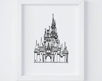 8x10 Cinderella's Castle Print | Walt Disney World | Line Drawing