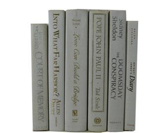 Beige Ivory Decorative Books , Vintage Photo Props , Wedding Decor , Tan Vintage Books ,  Home Decor , Old Books