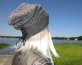 Bohemian Clothing Tribal Print Hat Slouchy Beanie Black Women's Cotton Knit Corset Lace Tie Top Beenies A1962