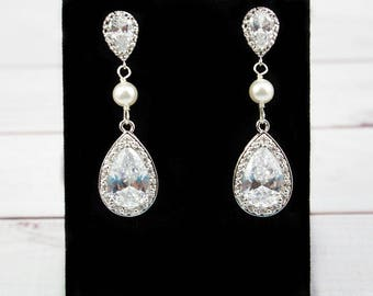 Wedding Earrings, Bridal Earrings, CZ Earrings, Long Earrings, Crystal Earrings, Cubic Zirconia Earrings, Drop Earrings, Bridal Jewelry,