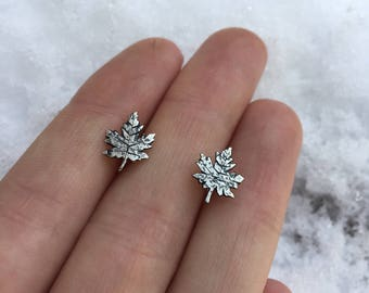 Maple Leaf Sterling Silver Stud Earrings Ritual Remains Witchy Jewelry Leaves Leaf Jewelry Leaf Earrings Maple Post Earrings Gifts For Her
