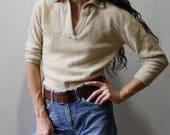 Vintage 1950s Cashmere Sweater // V Neck Shawl Collar