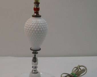 Vintage Hobnail Table Lamp Milk Glass Bedroom Lamp Accent Lamp Free Shipping