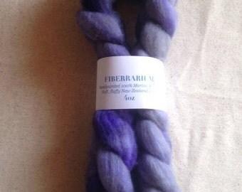 Handdyed Merino Roving 4oz - Purple & Gray