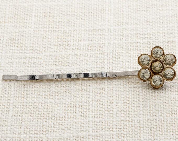 Flower Rhinestone Hair Clip Embellished Bobby Pin Handmade in USA Hair Pins 16V B