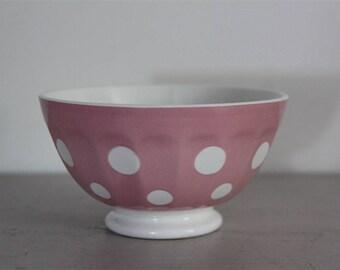 Antique Cafe Au Lait Bowl, Shabby Chic, Pink, Polka Dots, Sarreguemines