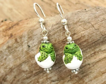 Ceramic Hatching Turtle Earrings / Sterling Silver Sea Turtle Wildlife Jewelry, Baby Dragon Pottery Beads, Box Turtle Lover Gifts Under 20