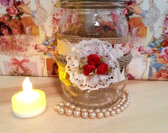 Decorated Mason Jar, Decorative Jar, Vintage Paris Style Fabric, Burlap, Lace, Red Roses, Romantic French Country Decor, Cottage Shabby Chic