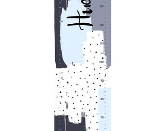 NEW! Custom name Growth chart - Handmade canvas height chart - Abstract blue grey grey and black watercolour spots