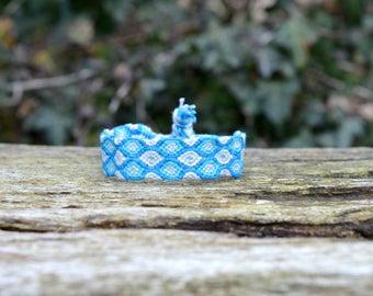 Friendship Bracelet woven, blue friendship bracelet, cotton macrame bracelet, wishbracelet, wristband (ready to ship)